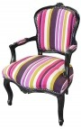 Baroque armchair of Louis XV style multicolor stripes fabric and black wood