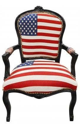 """Fauteuil baroque de style Louis XV """"American Flag"""" et bois noir"""