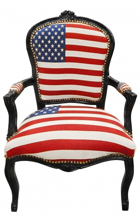 """American Flag"" baroque armchair of Louis XV style and black wood"