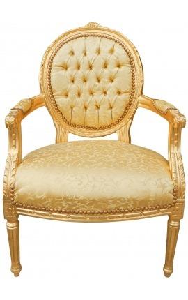Барокко кресло Louis XVI стиль золотых атласа и золоченой Вуд
