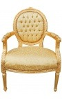 Baroque armchair Louis XVI style gold satine fabric and gilded wood