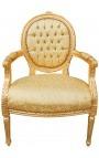 Fauteuil Louis XVI de style baroque tissu satiné doré et bois doré