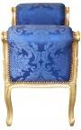 """Banquette baroque de style Louis XV tissu satiné bleu aux motifs """"Gobelins"""" et bois doré"""