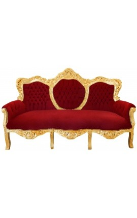 Baroque Sofa fabric red Burgundy velvet and gilded wood