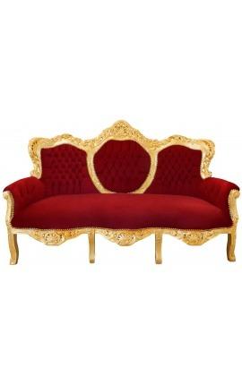 Canapé baroque tissu velours bordeaux et bois doré