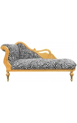 Large baroque chaise longue with a carved swan zebra fabric and gold wood