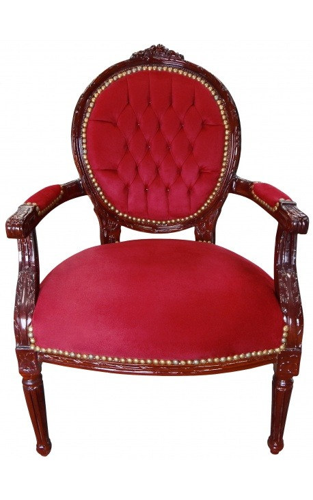 Baroque armchair Louis XVI style burgundy velvet and mahogany wood