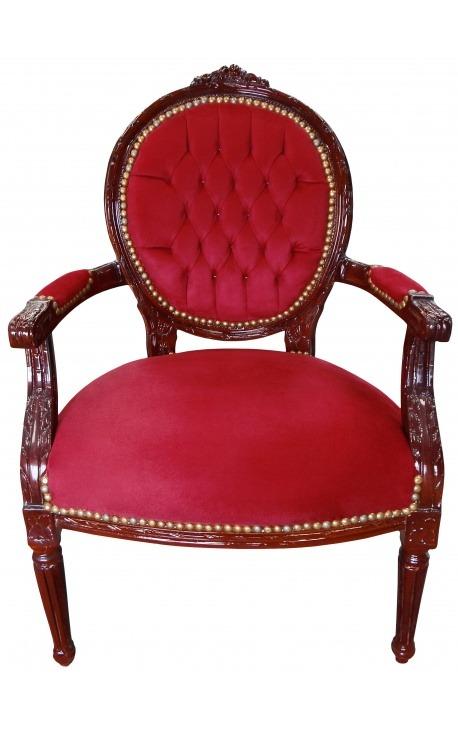 Fauteuil Louis XVI de style baroque velours bordeaux et bois couleur acajou