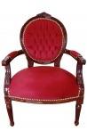 Барочное кресло Louis XVI в стиле красного бордового бархата и красного дерева