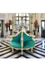 Fauteuil borne baroque tissu velours vert et bois doré