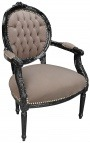 Baroque armchair Louis XVI style taupe velvet and black wood