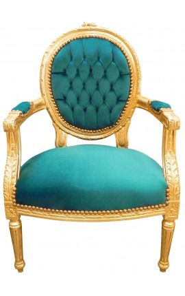 Baroque armchair Louis XVI style green velvet and gilded wood