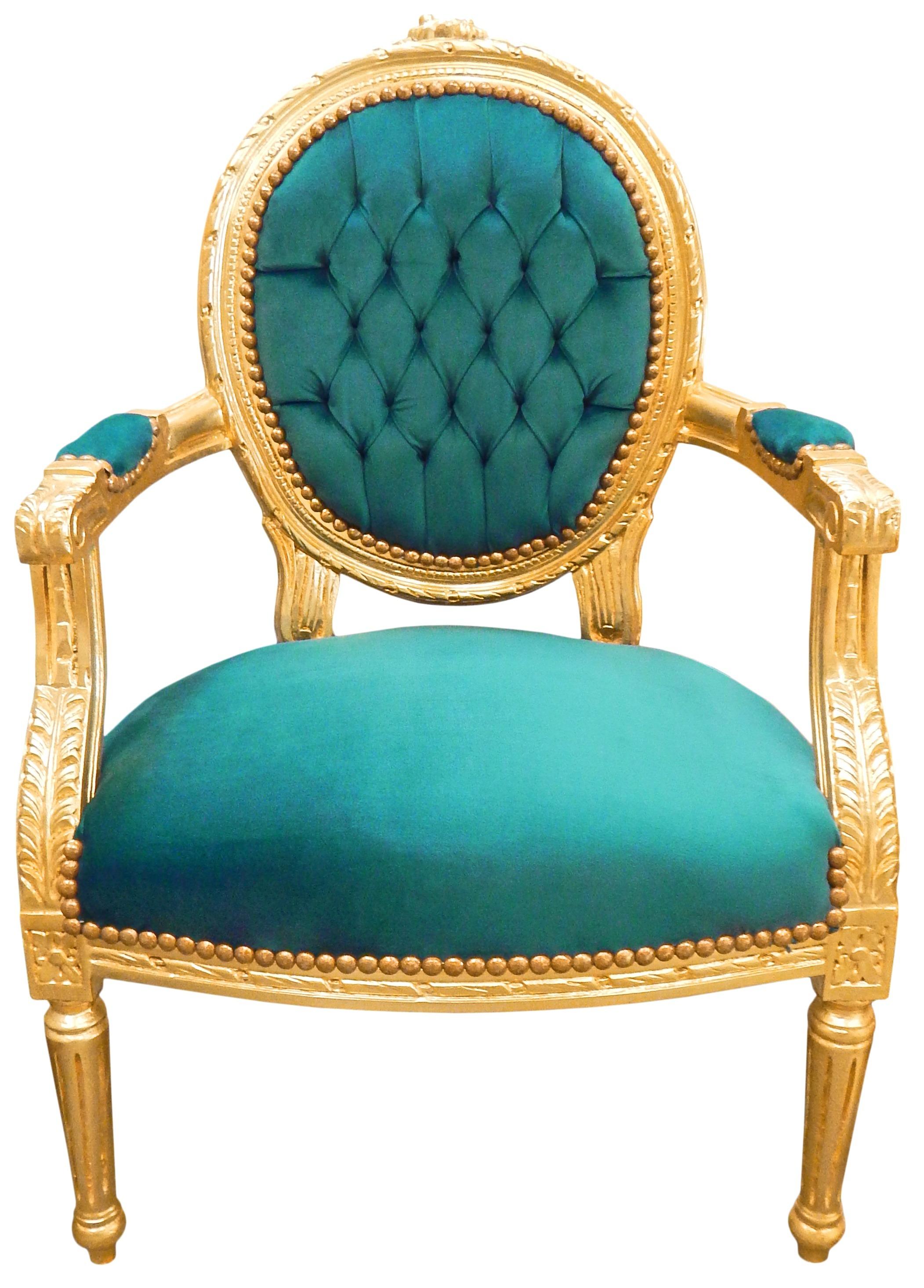Fauteuil baroque velours vert