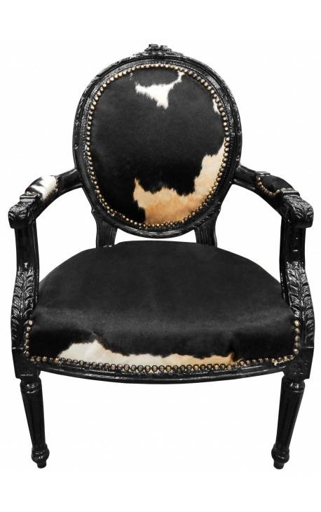 Baroque armchair of Louis XVI style real cow leather black and white and black wood