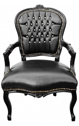 Baroque armchair of Louis XV black leatherette with rhinestones and black wood