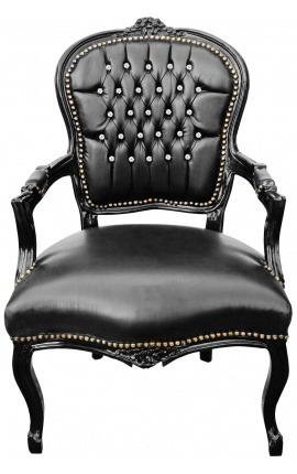 Fauteuil baroque de style Louis XV simili cuir noir avec strass et bois noir