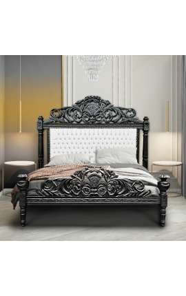 Baroque bed fabric white leatherette with rhinestones and black lacquered wood