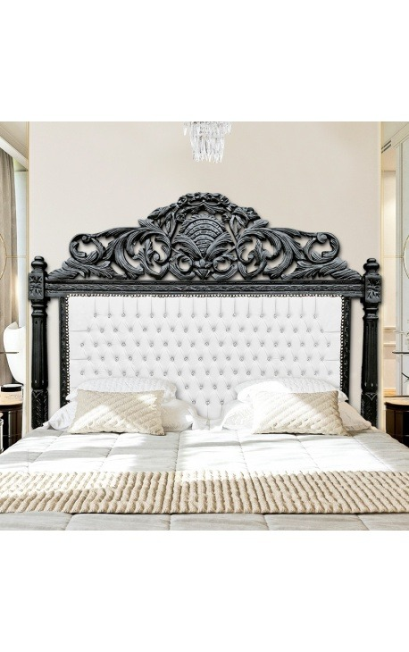 Baroque bed headboard white leatherette and rhinestones black lacquered wood