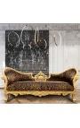 Canapé baroque Napoléon III médaillon tissu léopard et bois doré
