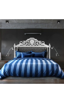 Tête de lit Baroque tissu simili cuir noir avec cristaux et bois argenté
