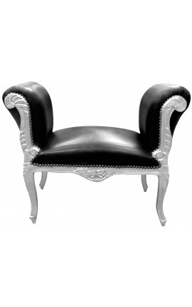 Baroque bench Louis XV style black leatherette and silver wood