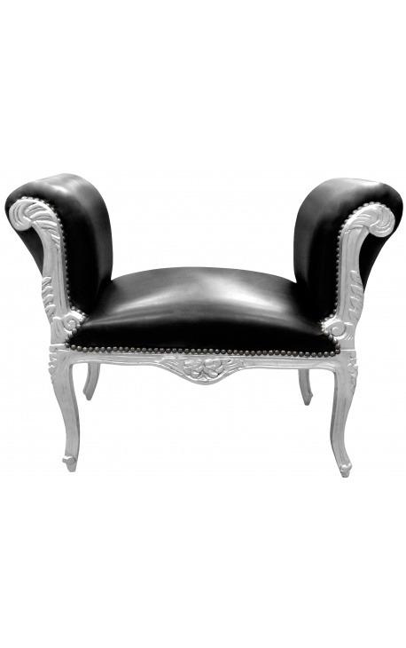 Banquette baroque de style Louis XV tissu simili cuir noir et bois argent