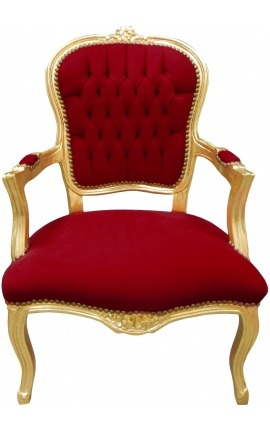 Fauteuil Louis XV de style baroque velours rouge Bordeaux et bois doré