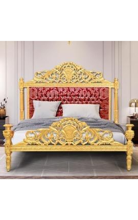 """Lit Baroque tissu """"Gobelins"""" satiné rouge et bois doré"""