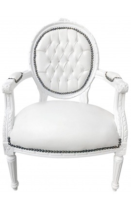 Baroque armchair Louis XVI style medallion in false white leather skin and white lacquered wood
