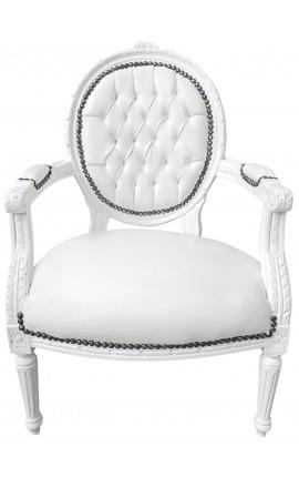 Fauteuil Louis XVI de style baroque simili cuir blanc et bois blanc