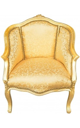 Bergere armchair Louis XV style gold satine fabric with gold wood