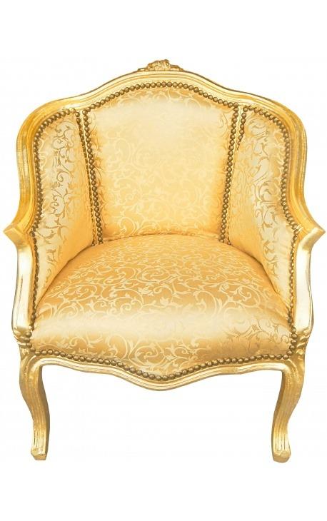 Bergère de style Louis XV tissu satiné doré et bois doré