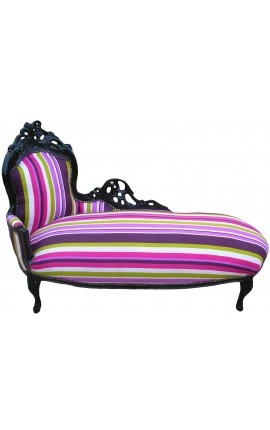Large baroque chaise longue multicolor striped fabric and black wood