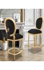 Chaise de bar de style Louis XVI à pompon, tissu velours noir et bois doré