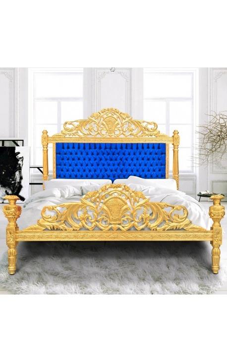 Lit Baroque tissu velours bleu et bois doré à la feuille