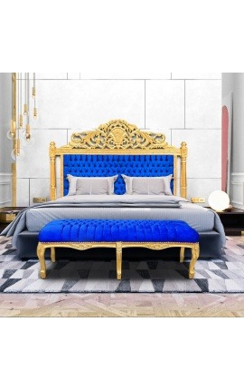 Baroque bed headboard dark blue velvet fabric and gold wood