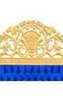 Tête de lit Baroque en velours bleu foncé et bois doré