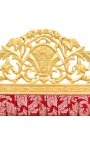 "Baroque headboard ""Gobelins"" red satin fabric and gold wood"