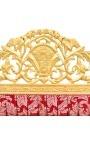 """Tête de lit Baroque tissu """"Gobelins"""" satiné rouge et bois doré"""