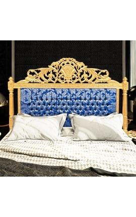 """Tête de lit Baroque tissu """"Gobelins"""" satiné bleu et bois doré"""