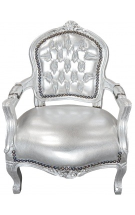 Baroque armchair for child silver false skin leather and silver wood