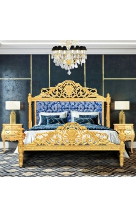 "Baroque bed blue ""Gobelins"" satine fabric and gold wood"