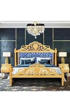 """Lit Baroque tissu satiné bleu """"Gobelins"""" et bois doré"""