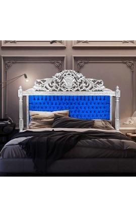 Tête de lit Baroque en velours bleu et bois argenté