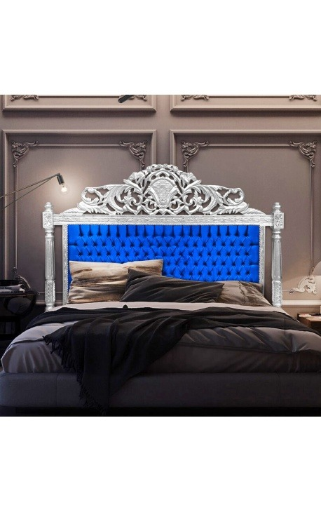 Baroque bed headboard blue velvet fabric and silver wood
