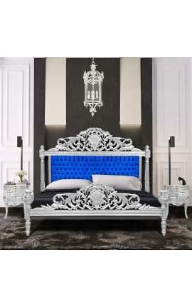 Baroque bed blue velvet fabric and silver wood