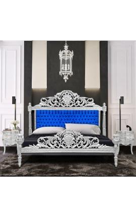 Lit Baroque tissu velours bleu et bois argenté