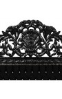 Baroque bed headboard black velvet with rhinestones and black lacquered wood.