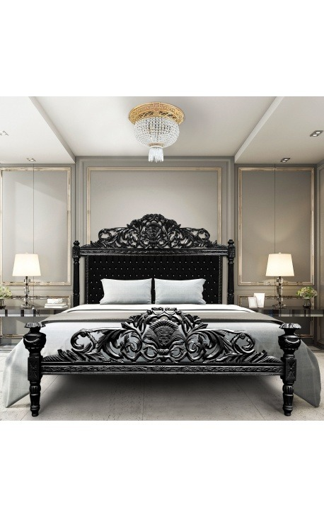 Baroque bed with black velvet fabric with rhinestones and black lacquered wood.