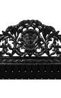 Lit Baroque tissu velours noir avec strass et bois laqué noir
